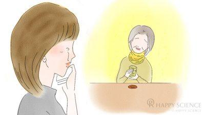 和菓子を食べてにこにこする、思い出の中のおばあちゃん(嫁姑【体験談】画像)